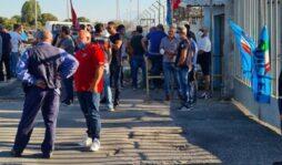 Sit in alla Versalis dei lavoratori Icmb contro gli appalti al ribasso