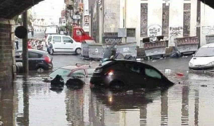 Bomba d'acqua su Catania: danni e allagamenti