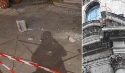 Distacco dalla facciata della Chiesa dell'Immacolata in Ortigia: area transennata