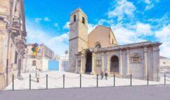 Pavimentazione del sagrato della basilica di piazza santa Lucia, la posa della prima pietra
